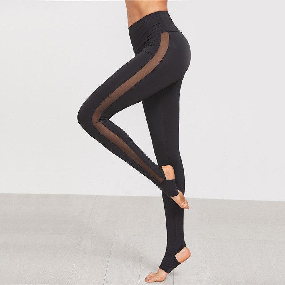 Ladies Mesh Pants See Through Leggings 2017 Casual Womens Black Wide Waistband Mesh Insert Stirrup Leggings #VE