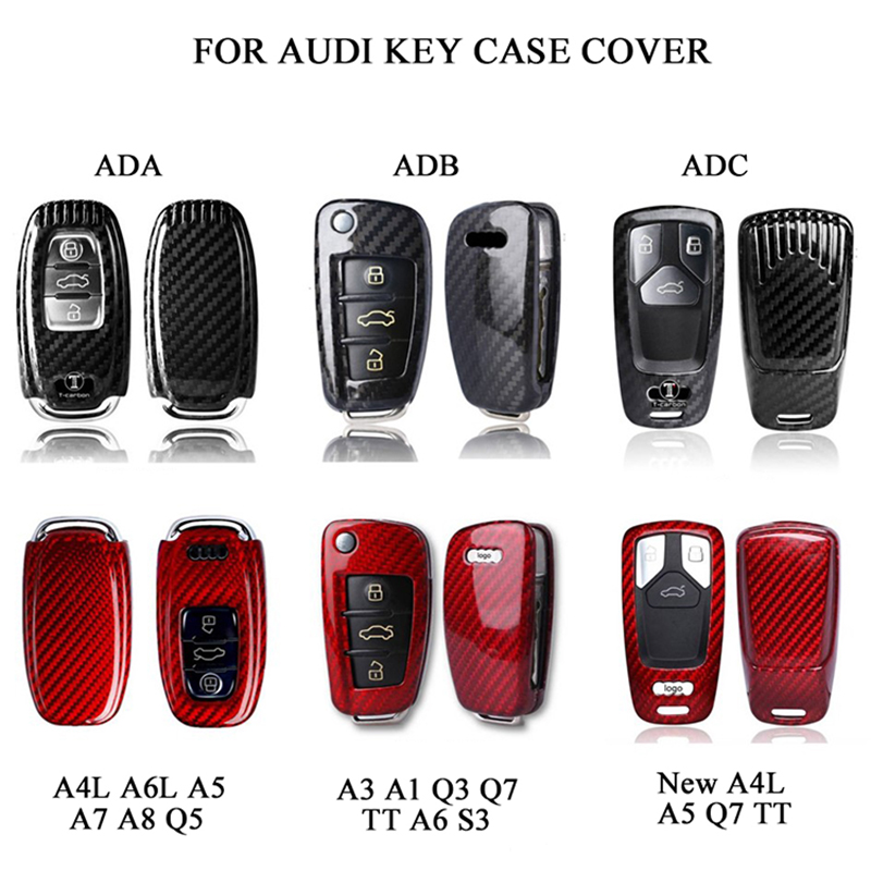 Car Key Protection Cover For Audi BUTTON START Carbon Fiber for Audi A4 A4L A5 A6 A6L Q5 S5 S7 Protect Shell Car Styling|key cover audi a6|car styling key cover|car key cover audi - title=