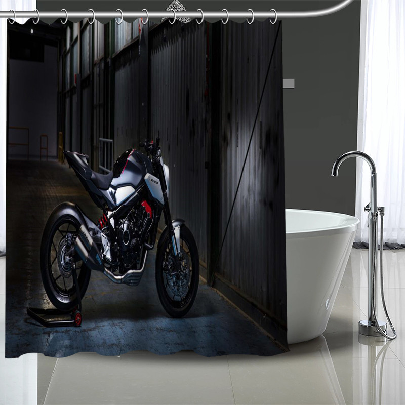 Custom Motorcycle Shower Curtain Modern Fabric Bath Curtains Home Decor More Size Your Image