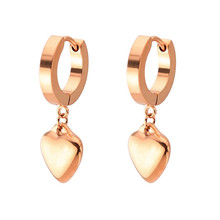 New Hot Sale Punk Rose Gold Silver Color Stud Earring For Women Men Stainless Steel Trendy Heart Ear Clip Fashion Jewelry