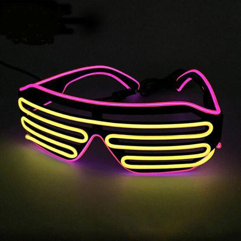 Неоновые вечерние EL очки EL Wire неоновые Светодиодные Солнцезащитные очки светящиеся очки Rave костюм вечеринка DJ Солнцезащитные Очки День Рождения Декор - Цвет: yellow VS pink