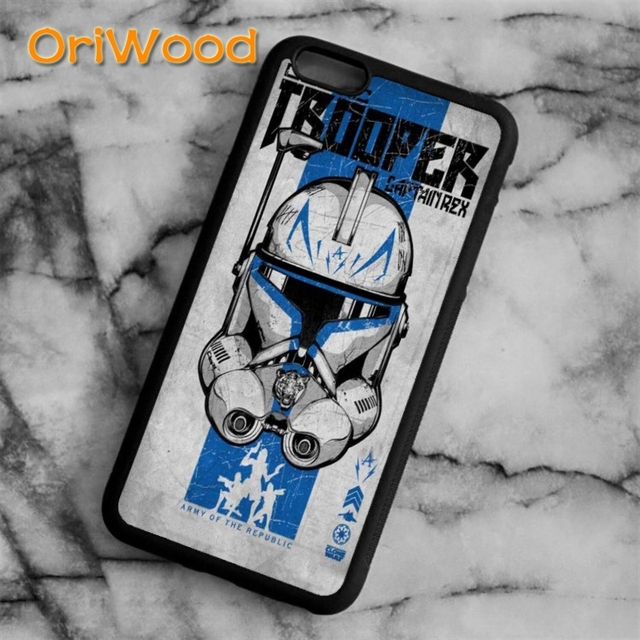 pretty nice af3fb 53940 US $3.99 20% OFF|OriWood Star Wars Clone Trooper Case cover For iPhone 6 6S  7 8 Plus X 5 5S SE Samsung galaxy S5 S6 S7 edge S8 Plus Note 8 shell-in ...