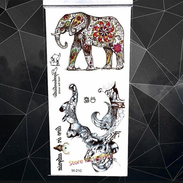 Elefante indio Henna tatuaje temporal etiqueta acuarela falso flash ...