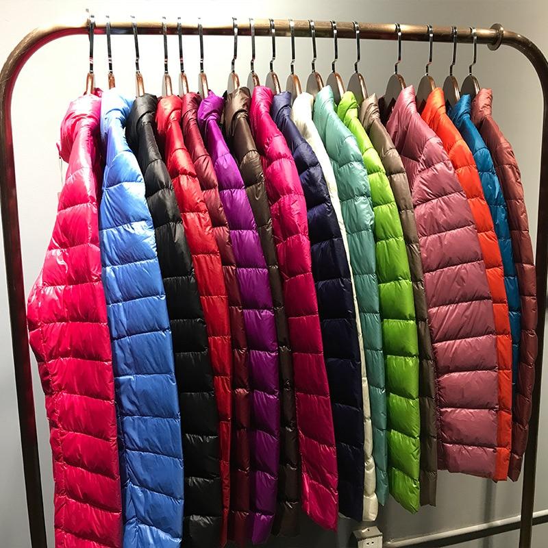 [Aiweier]Womens Down Jacket Short Slim Thin Solid Zipper Korean Style Stand Collar Winter Down Jacket For Women Coats ALWL01