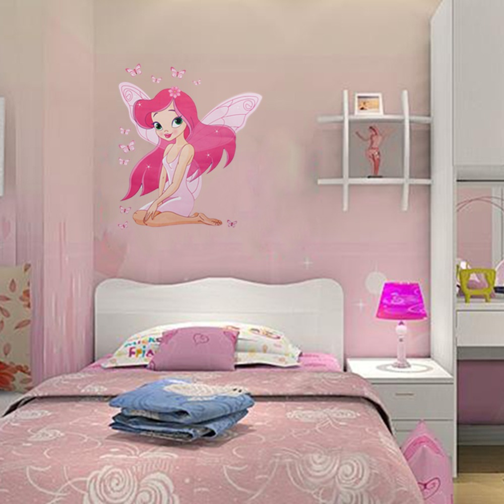 Beautiful fairy princess butterly decals art mural wall sticker beautiful fairy princess butterly decals art mural wall sticker kids girl room decor pink color in wall stickers from home garden on aliexpress amipublicfo Gallery