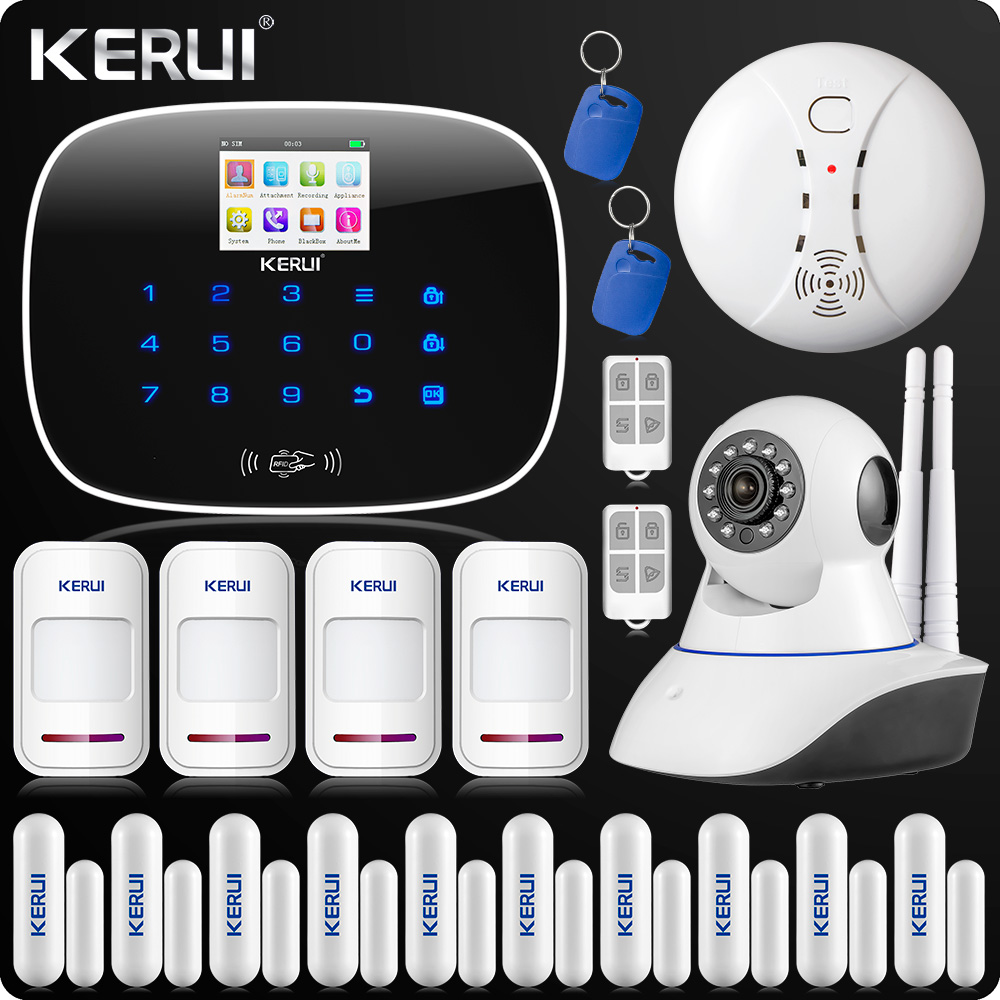 GSM ISO Android App Wireless Home Security Alarm System Wifi IP Camera SMS RFID Autodial Door Open Reminder Function