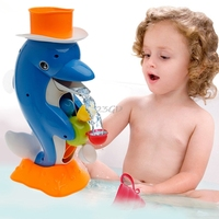 2017 Preety Cute Dolphin Bath Shower Wheel Toy Baby Kids Water Spraying Tool Bathroom Gift May20