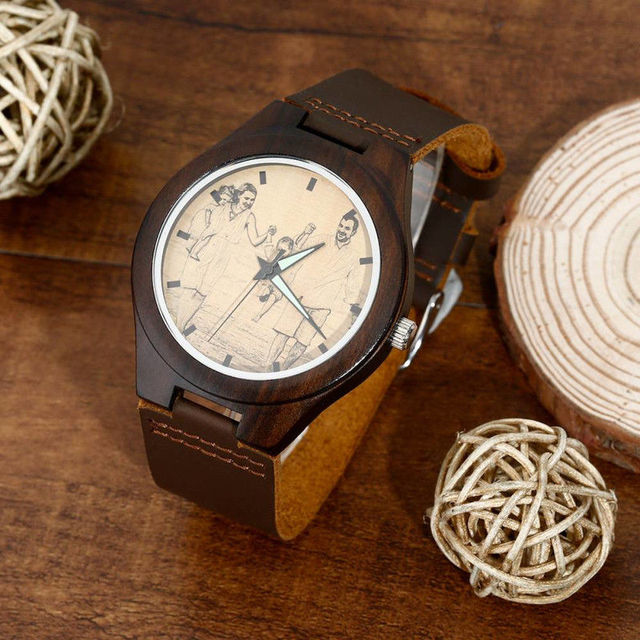 US $0 5 |Men's Engraved Wooden Photo Watch Brown Leather Strap Personalized  Custom Design Print on Demand Dropshipping Shopify -in Women's Watches