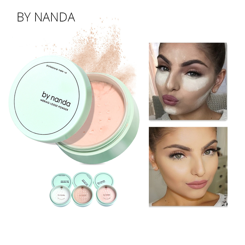 BY NANDA 3 Color Translucent Pressed Powder With Puff Smooth Face Makeup Foundation Waterproof Loose Powder