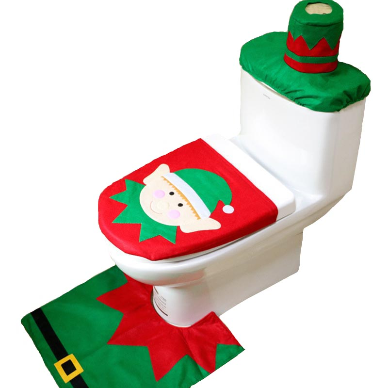 3pcs Lot Christmas Decorations Seat Santa Claus Snowman Elk Elf Bathroom Set Contour Rug MR0030 In Pendant Drop Ornaments From Home Garden