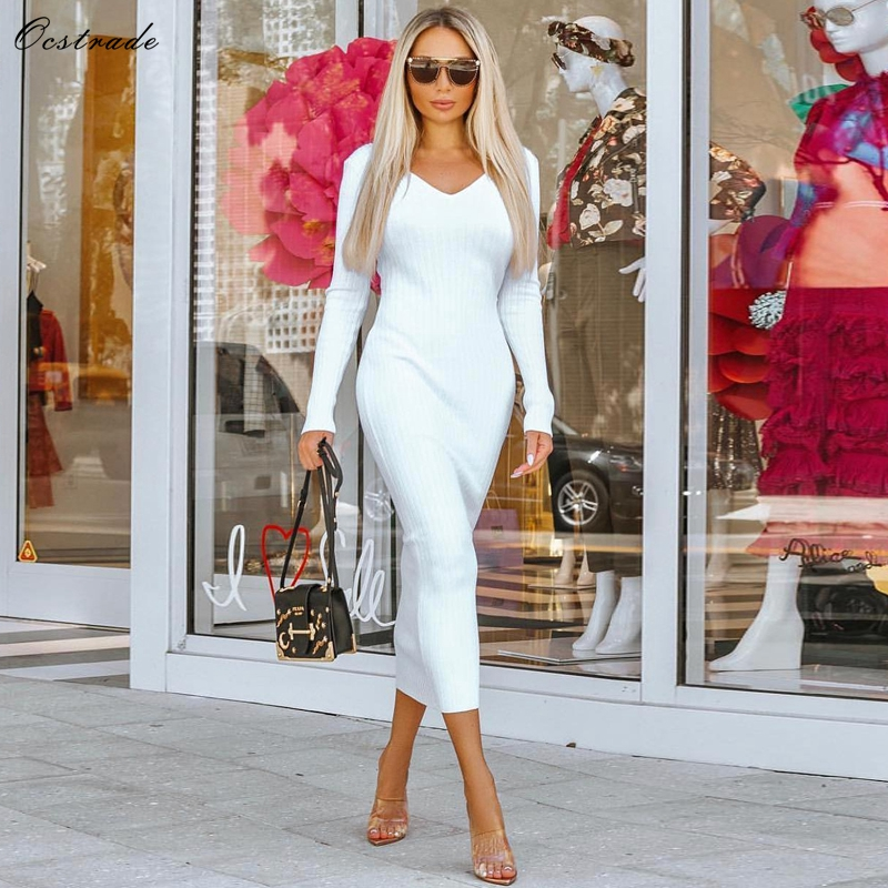 Ocstrade Sexy White Bandage Dresses 2019 New Arrivals Off Shoulder V Neck Ribbed Rayon Midi Bandage
