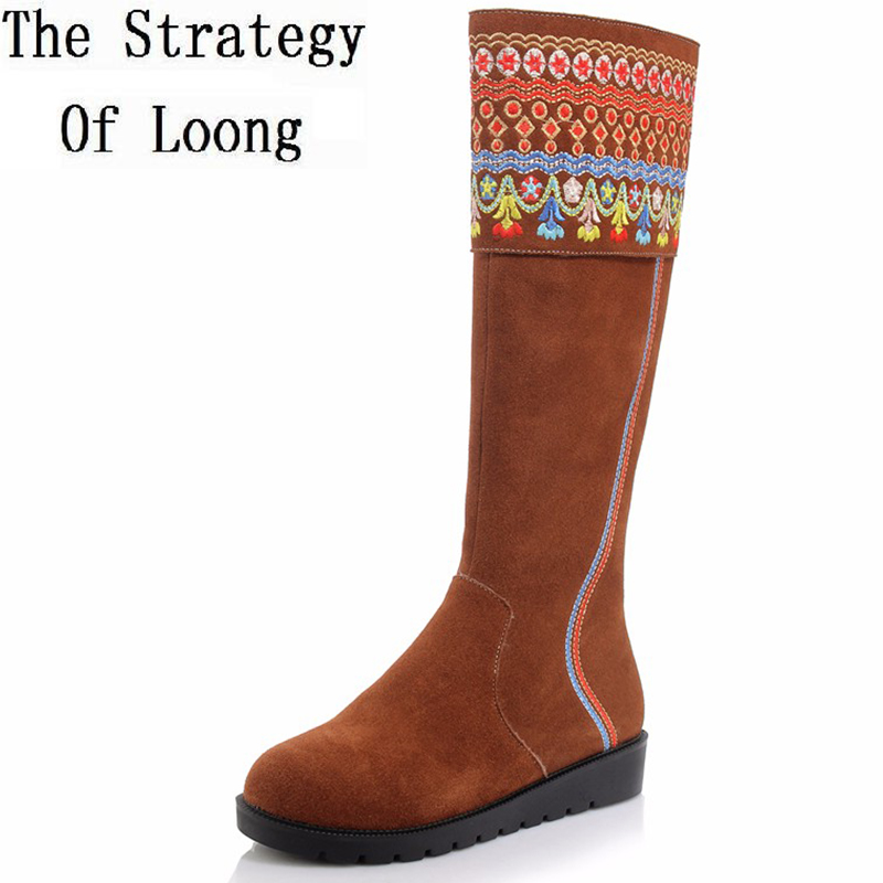 Women Full Grain Leather Thick Warm Knee High Boots Round Toe Flat Traditional  National Style Real Leather Winter Boots 1110 elevator funky full grain genuine leather rub skin color korean new arrival thread bandage round toe safety boots thick soled