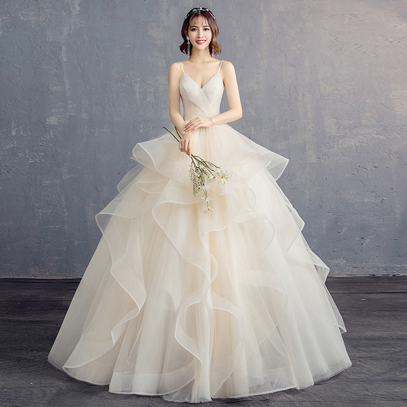 Wedding dress 2019 Ruched Summer new bride married floor length top quality strap V-neck Ball Gown slim Customize