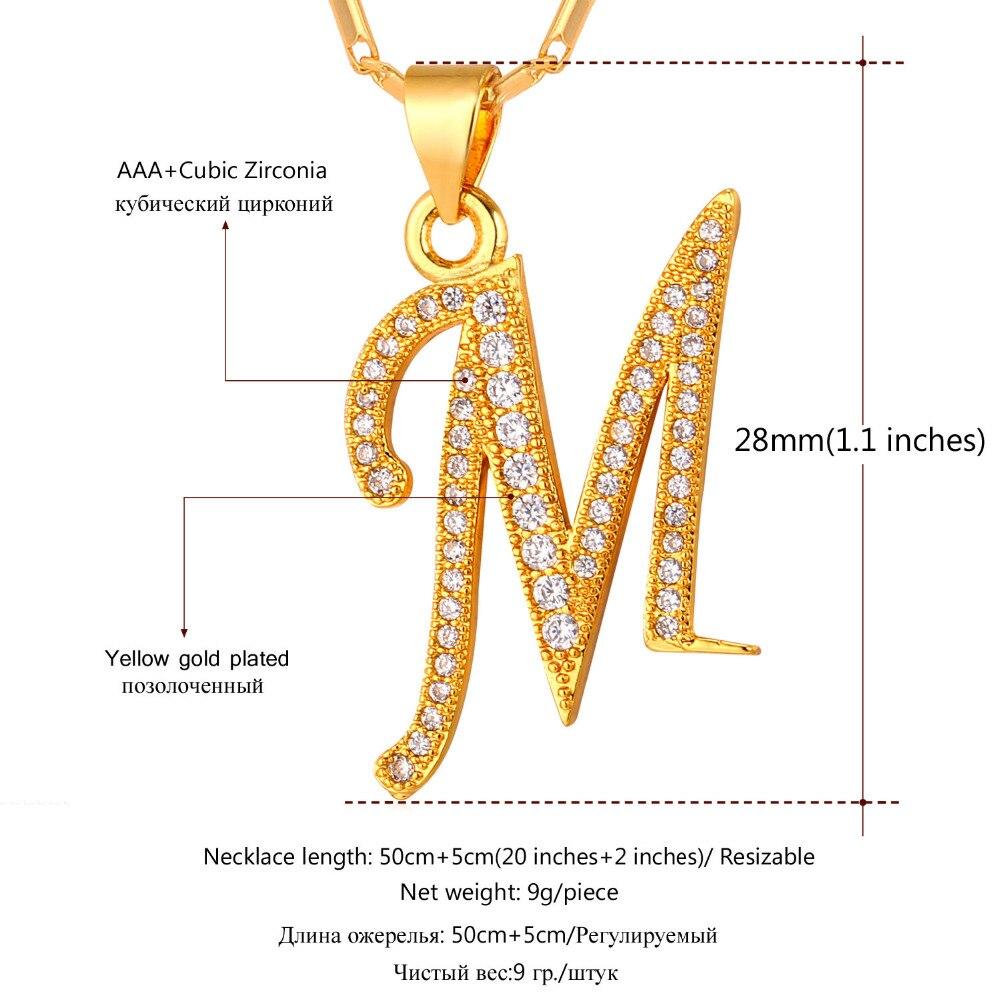 U7 Capital Initial M Letter Naszyjnik Dla kobiet Srebrny / Złoty - Modna biżuteria - Zdjęcie 5