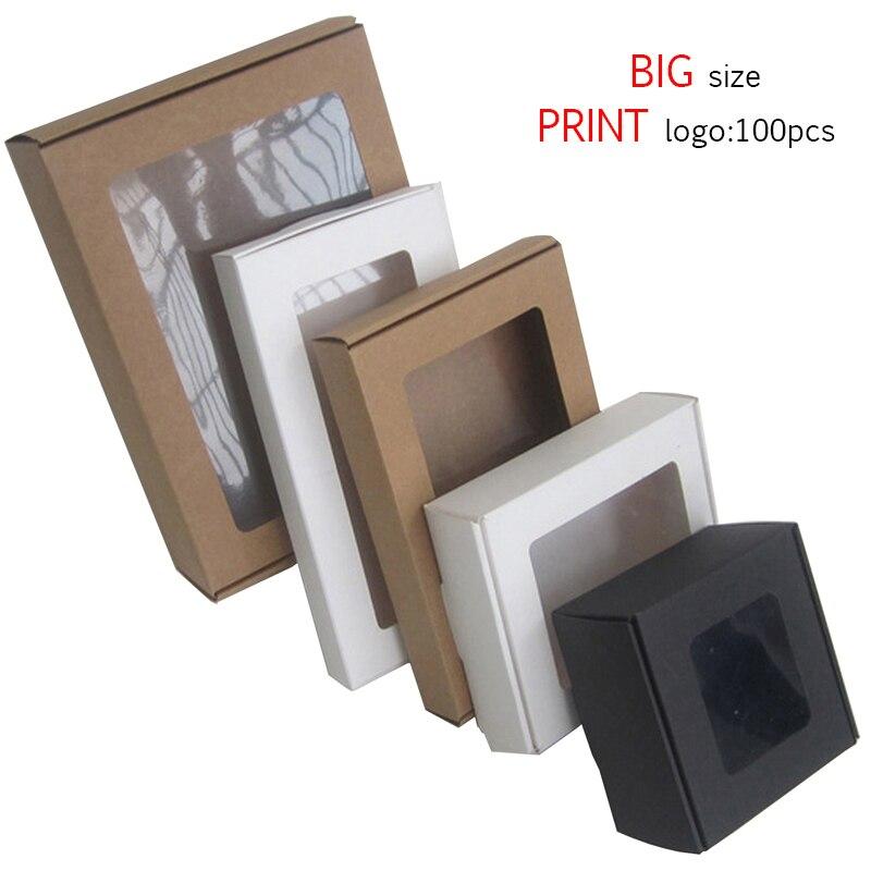 10pcs Black Kraft Large Gift Box Packaging White Craft Paper Box Party Wedding Cardboard Box Cajas De Carton Box Packing