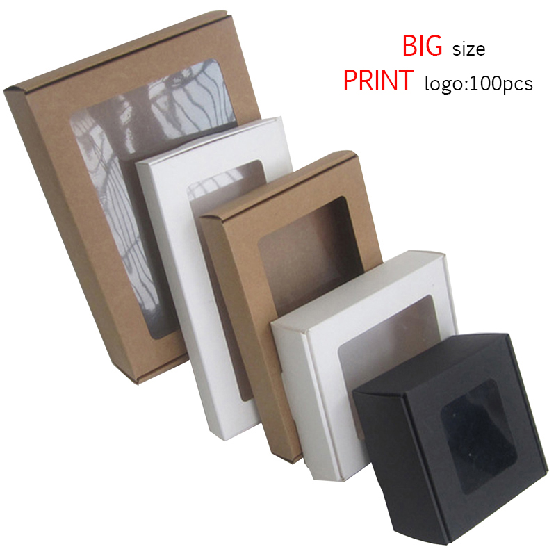10pcs Black Kraft Large Gift Box Packaging White Craft Paper Box Window Party Wedding Cardboard Box Cajas De Carton Box Packing