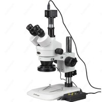 Zoom Stereo Mikroskop AmScope Malzemeleri 3.5X 90X Zoom Stereo Mikroskop w 5MP Kamera + 144 LED 4  bölgesi Işık Mikroskoplar    -