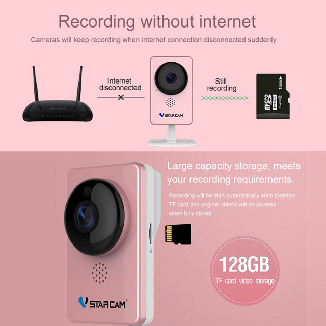 VStarcam WiFi Mini Camera Panoramic Infrared Night Vision Wireless Motion Alarm Video Monitor IP Camera C60S Pink 6