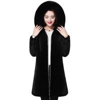 Hooded large fur collar faux fur coat female long winter thick plush coat women imitation water mink black pulse size M 5xl d76