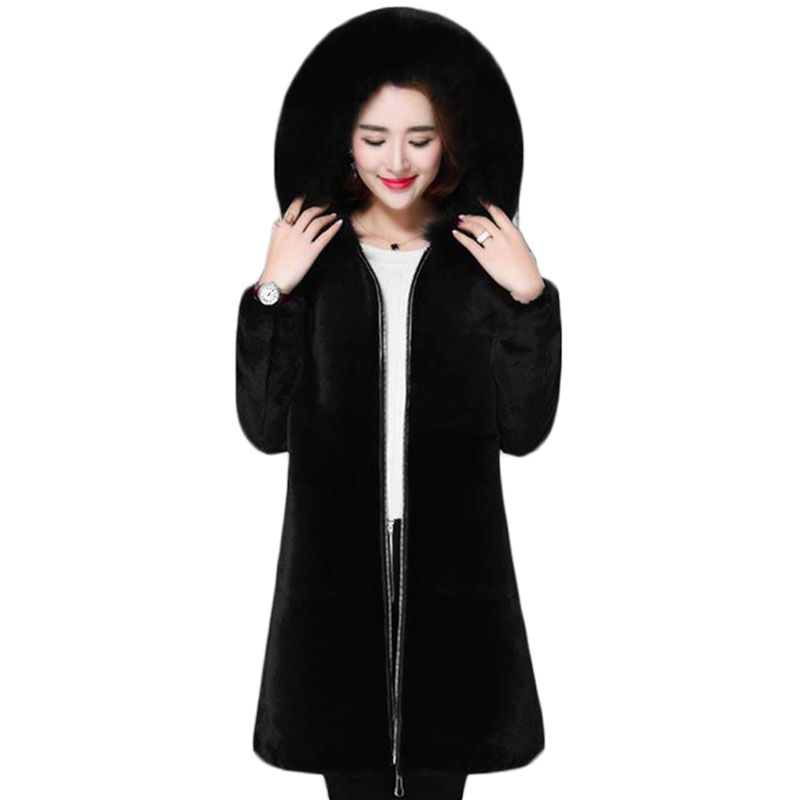 Hooded Large Fur Collar Faux Fur Coat Female Long  Winter Thick Plush Coat Women Imitation Water Mink Black Pulse Size M-5xl D76