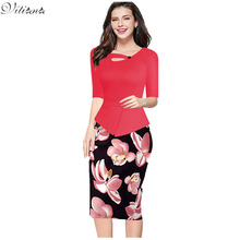 2017 New Womens Vintage Elegant Clothing Print Floral Solid Patchwork Button Casual Work Bodycon Summer office Party Dress