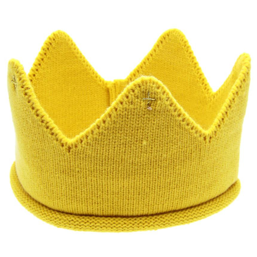 New Fashion Cute Baby Hat Boys Girls Crown Knit Headband for Birthday Candy Color Hat Chapeu Vintage #7919