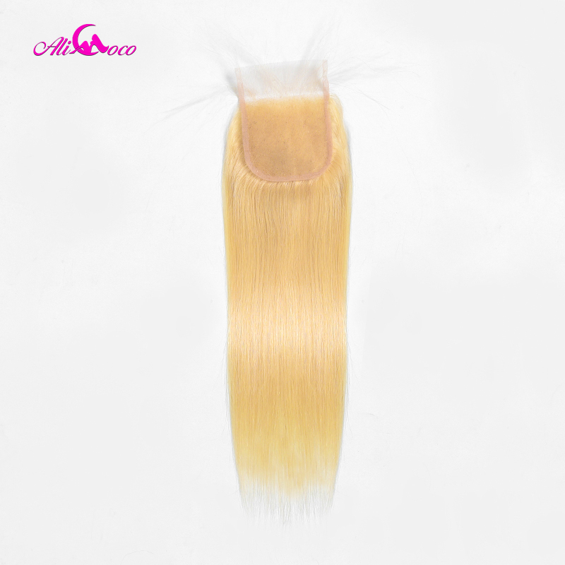 Ali Coco Brazilian 613 Blonde Lace Closure Straight 4 4 Human Hair Closure Free Part With