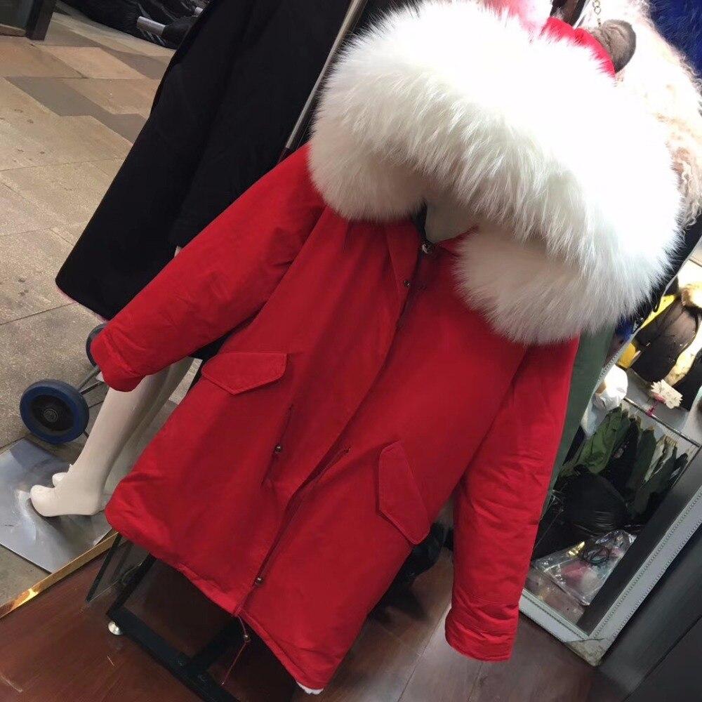 D'hiver M Parka Blanc Porter Longue Hoodies Mme Rouge Laveur De Fourrure Fashioon Casual Réel Raton Icône qAtap5wx6n