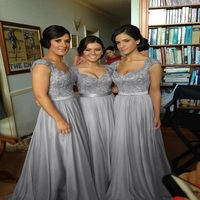 Hot In Stock A Line Dress With Sweetheart Cap Sleeves Applique Beading Pearls Bridesmaid Dresses Prom
