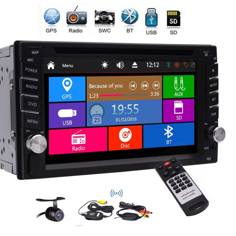 Double Din Car Stereo 1080P DVD CD Audio Player GPS Sat Nav Radio Bluetooth SWC Dual Zone Subwoofer USB SD AUX + Wireless Camera 1563u 1 din 12v car radio audio stereo mp3 players cd player support usb sd mp3 player aux dvd vcd cd player with remote control