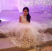 Новые белые Платье для девочки цвета слоновой кости с цветочным принтом для свадьбы 3D Цветы пышные фатиновые с большой бант Обувь для девоч...