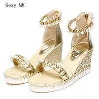 Для женщин Платформа, высокий каблук Босоножки на танкетке открытый носок Обувь женские летние Высокие каблуки клинья Римские сандалии плю...