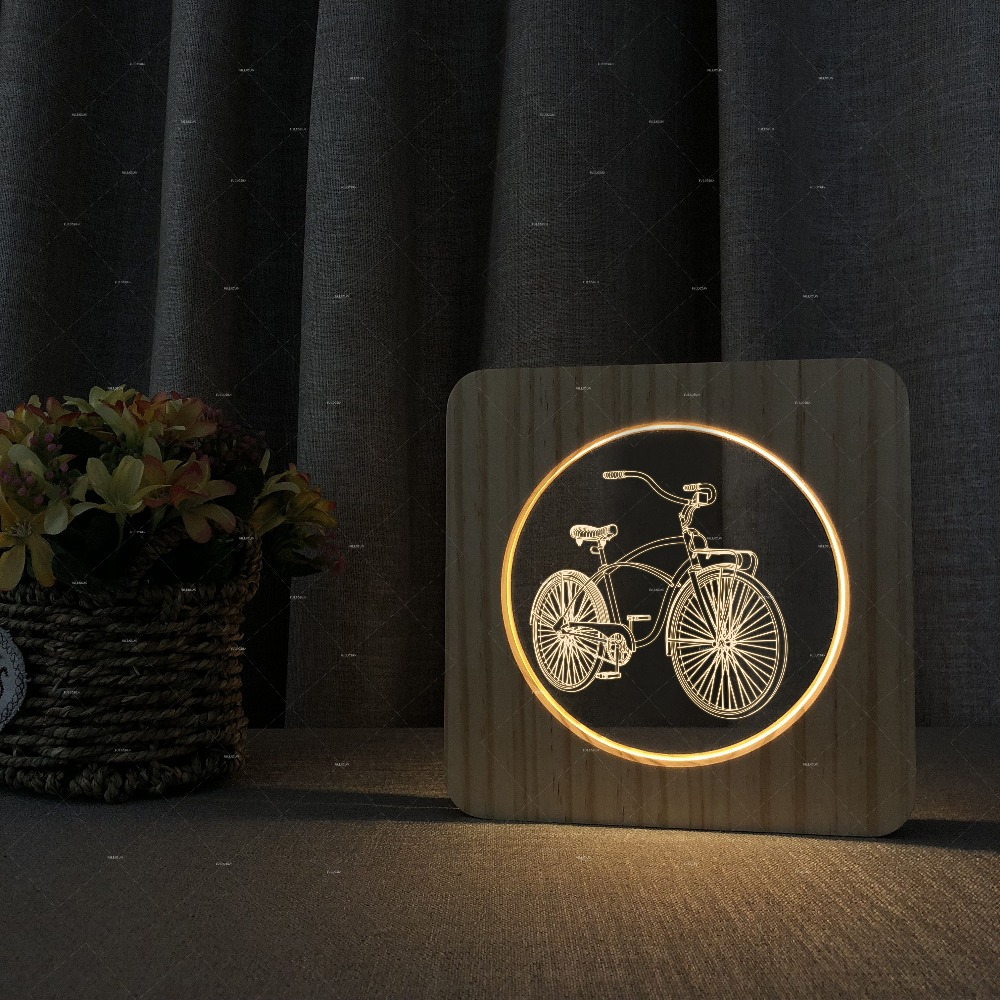 Car Addiction Bike Night Lights USB Sensor Desk Table wooden acrylic Lamp LED 3D as Bedside Room france football paris sg lampe 3d lamp 7 changement de couleurs touch sensor table desk lamp atmosphere bedside lights 3d 727