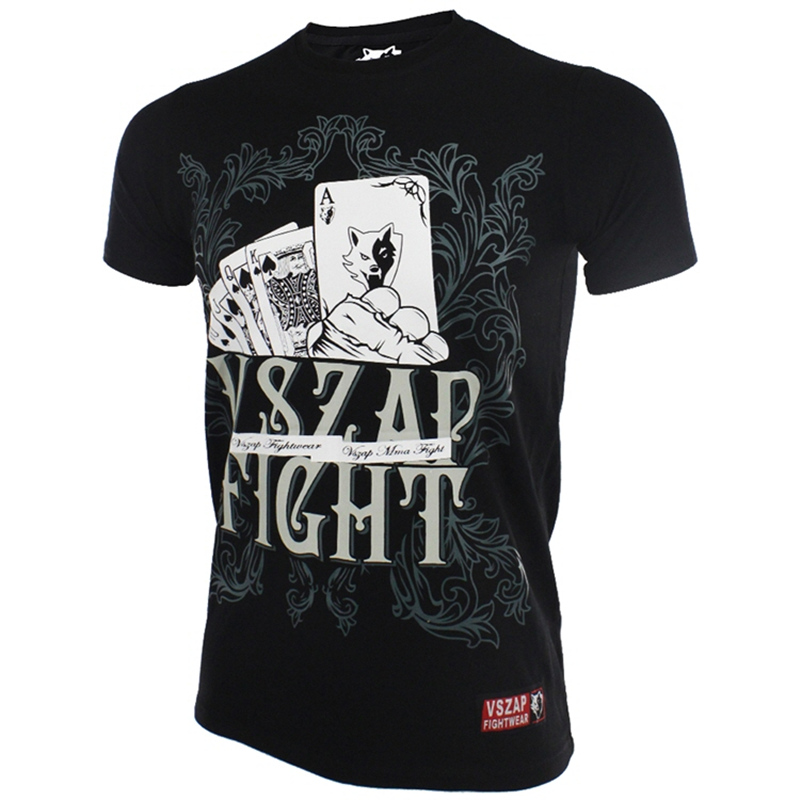 Brazilian Jiu Jitsu MMA/BJJ Men's T-Shirt Black VSZAP Poker Fighting Clothing Muay Thai Jersey Boxing Tee