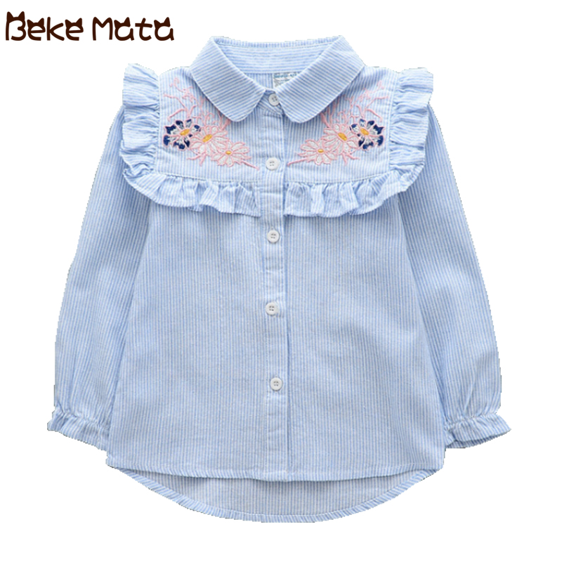 Kids Blouses For Girls 2018 Autumn Flower Embroidery Long Sleeve Girls Blouse Striped Cotton Girl Shirts Children Clothing 3-9 Y