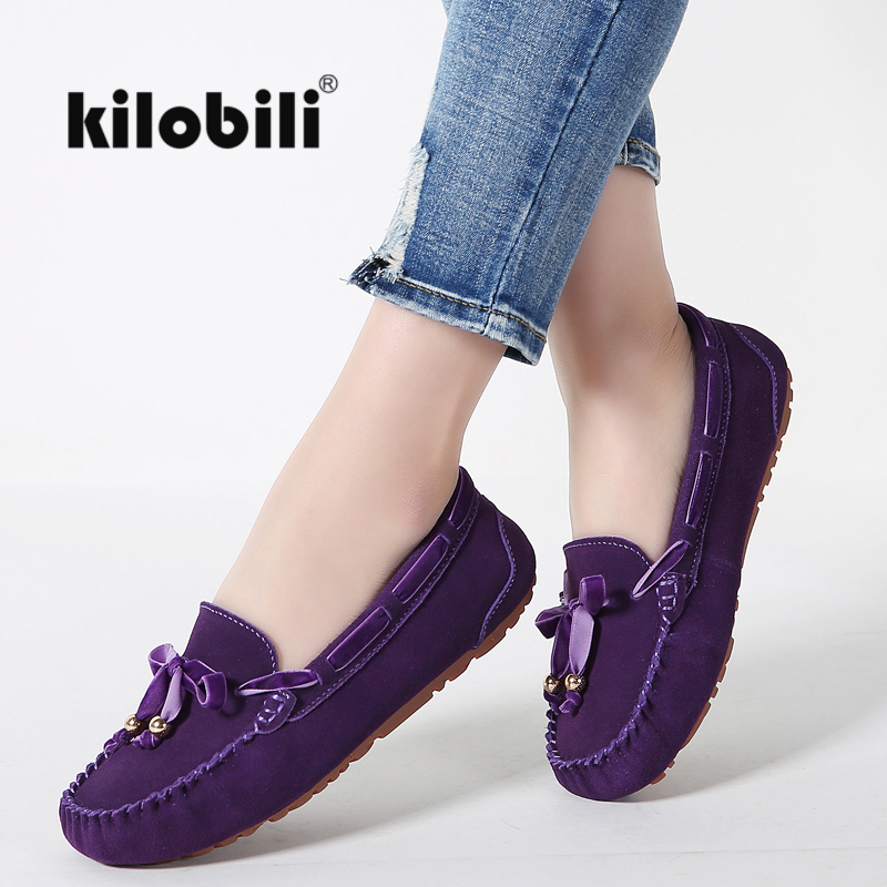 kilobili women ballet flats shoes suede leather slip on riband knot driver loafers ladies women casual moccasins Spring Summer-in Women's Flats from Shoes    1