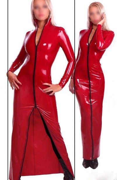b4975abc48d69 Fashion Women Sexy Red Full Sleeve Latex Ballroom Dancing Dress Rubber  Dresses Plus Size Hot Sale