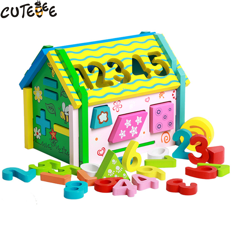 Cutebee Wooden Toys for Children Montessori Math Toy Puzzle Cube Multi Function Shape Matching Intelligence for Kids Baby Toys cutebee wooden toys for children montessori toy pretend cube educational color tool repair box for kids baby toys
