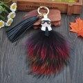 Fluffy Kar Genuine Raccoon Fur Pompom Bag Bugs Charm Keychain Plush Key Ring Leather Tassel Pompom Key Chain K001-multi