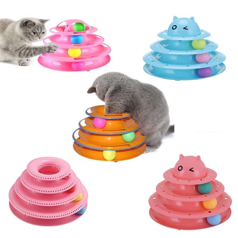 Chat drôle jouet pour animaux de compagnie chat jouets Intelligence Triple disque de jeu chat jouet balles chat fou balle disque interactif jouet pour IQ Traning