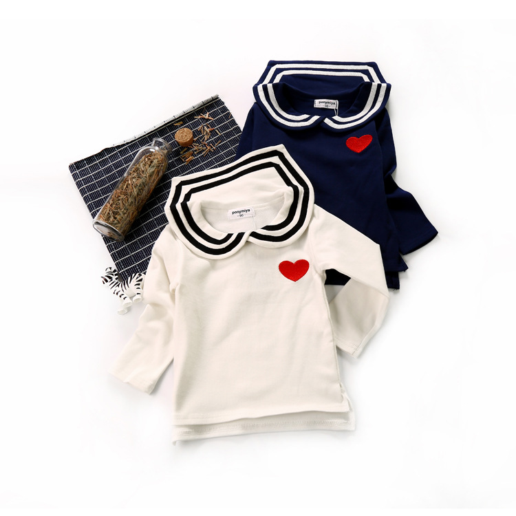 Tops Long-Sleeve Navy-Shirts Girls Clothes Toddler Autumn Baby Princess Winter Cute Soldier