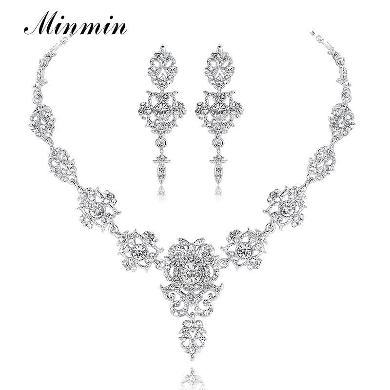 Minmin Classic kristály menyasszonyi ékszer szettek Ezüst / arany színű zakó nyaklánc fülbevaló szett Esküvői ékszerek nőknek MTL432