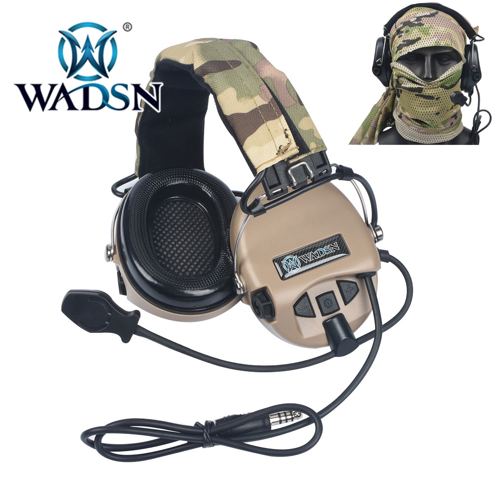 WADSN Tactical Headset Peltor Headphones No Noise Reduction Function Communication Earphone WZ165 Camouflage Airsoft Headsets