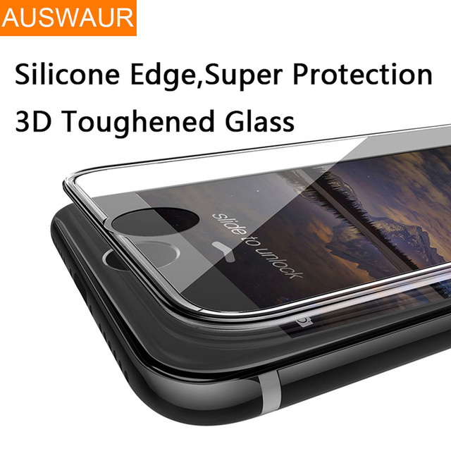 88e231a4545 3D 9H Tempered Glass Full Cover For iPhone X Silicone Edge Curved Screen  Protector for iPhone