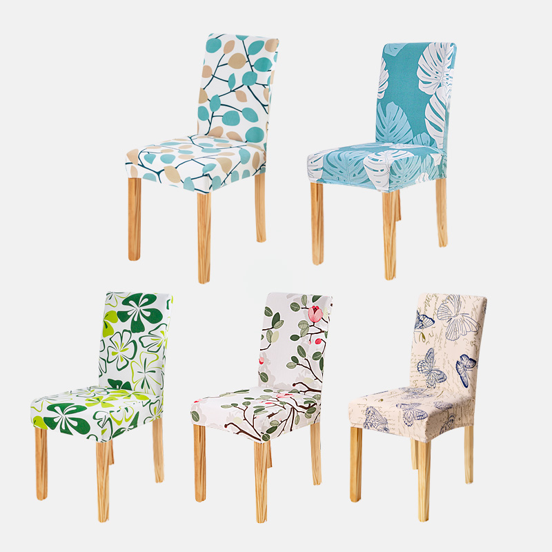 Ny blomsterskrive Butterfly Chair Cover Hjem Spisestue Cover Covers Multifunktionel Spandex Elastisk Tøj Universal Stretch
