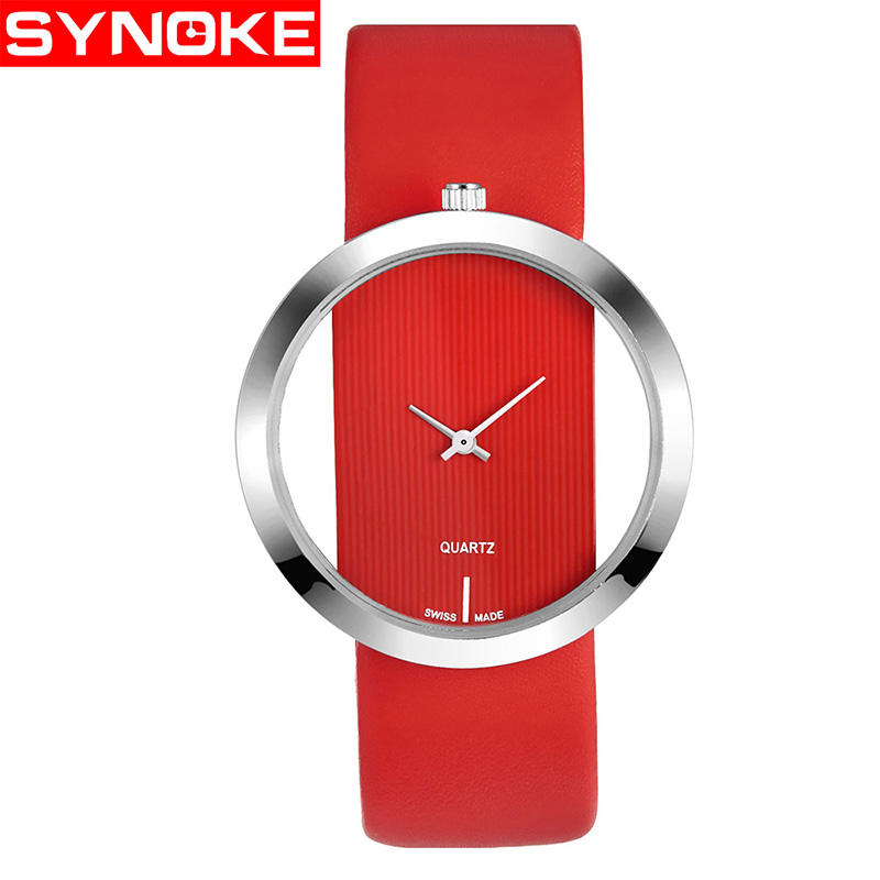SYNOKE Band Watch Women Luxury Fashion Quartz Unique Stylish Hollow Skeleton Watch Leather Sport Lady Wristwatches vansvar brand luxury fashion casual quartz unique stylish hollow skeleton watch leather sport ladies wristwatches drop shipping