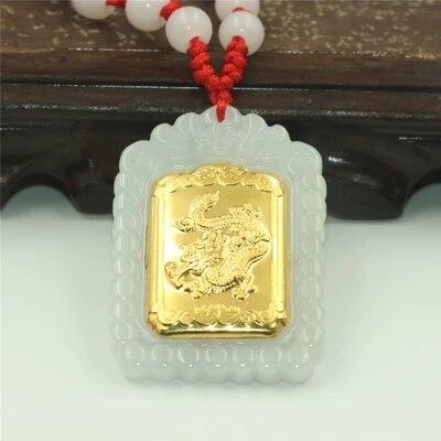 Premium natural jadeite gold flying dragon pendant necklace mens jewelry gift amuletPremium natural jadeite gold flying dragon pendant necklace mens jewelry gift amulet