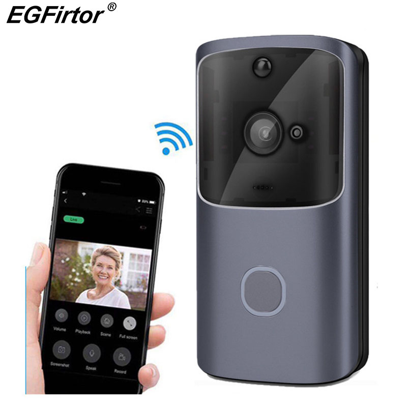Smart Video Doorbell Wireless WiFi Door Bell Monitor Alarm Door Phone IP Camera Outdoor Waterproof iOS Android Video Intercom    - title=