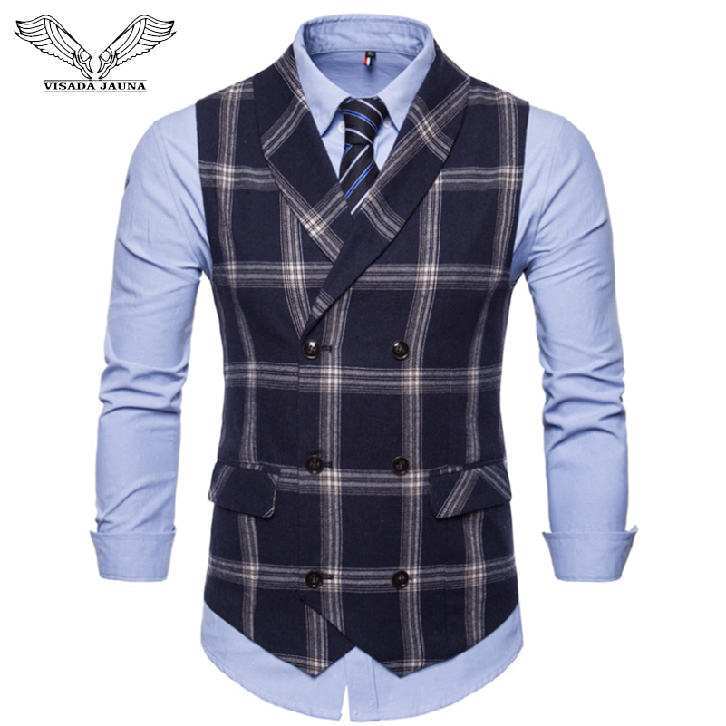 VISADA JAUNA Autumn New Vest Men's Double-breasted Large Lattice Slim Lapel Vest Large Size Suit Vest Men's Small Jacket N9031