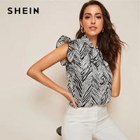 2b1334605f SHEIN Black And White Tie Neck Ruffle Armhole Zebra Print Blouse Women  Spring Elegant Cap Sleeve